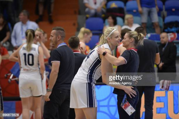 Marie Ruzickova of Slovakia celebrates victory with a team colleague during the 2017 FIBA EuroBasket Women qualifications match between Slovakia and...