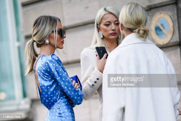 Marie Shea and Caroline Vreeland are seen, outside Alessandra Rich, during Paris Fashion Week - Womenswear Spring Summer 2020, on September 27, 2019...