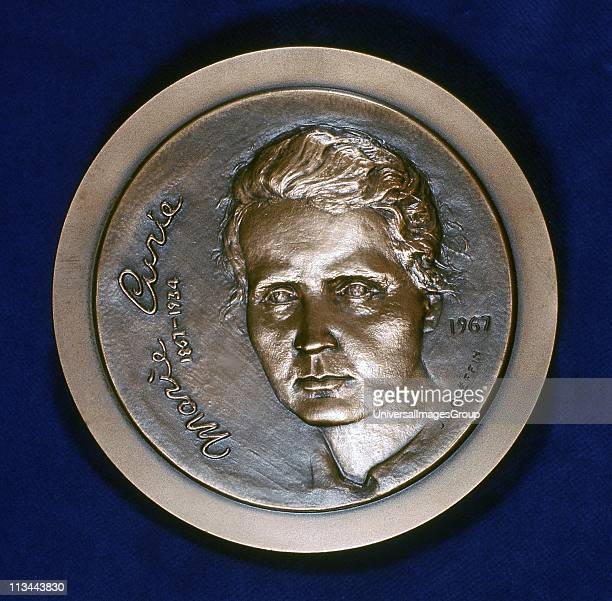 Marie Sklodowska Curie Polishborn French physicist Obverse of medal issued in 1967 to commemorate the centenary of her birth and celebrating the...