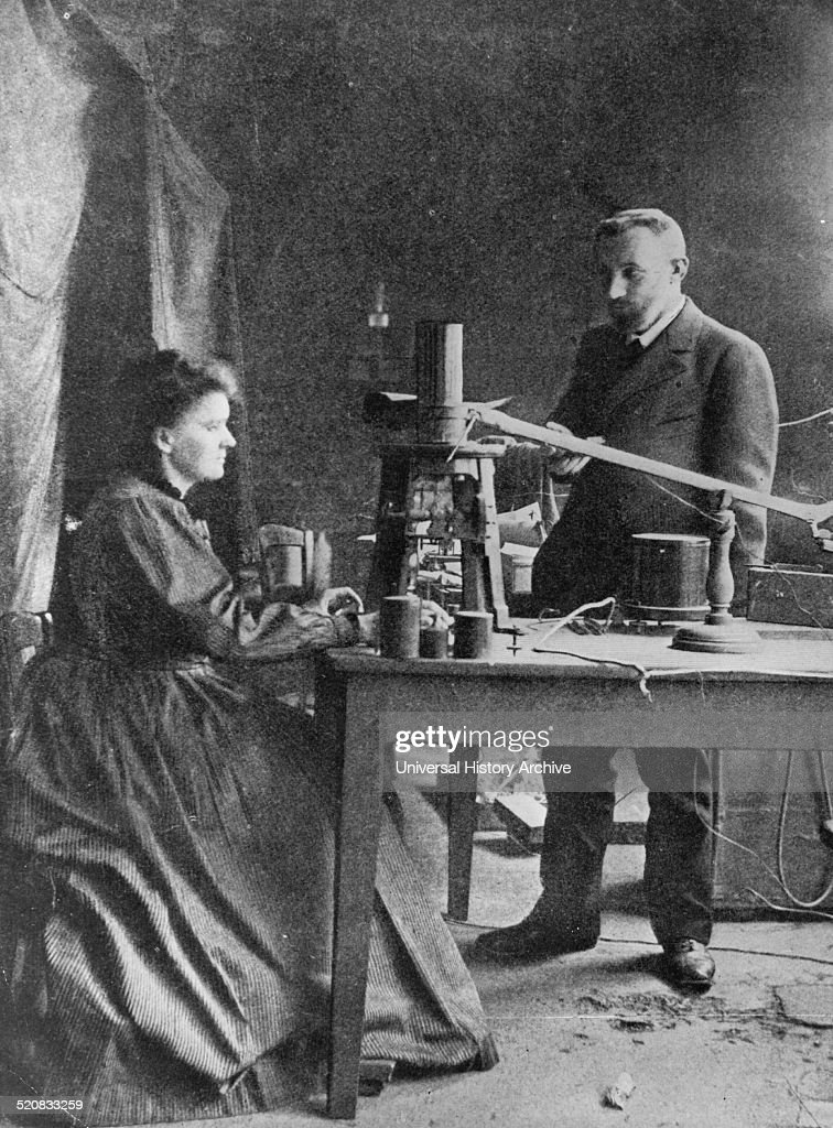Marie Sklodowska-Curie with Pierre Curie. : News Photo