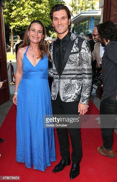Marie Theres Kroetz Relin Vladimir Korneev attend the Bavaria Film reception during the Munich Film Festival at Kuenstlerhaus am Lenbachplatz on June...
