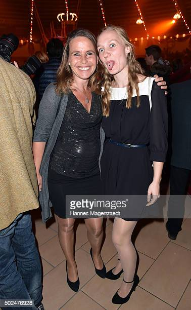 Marie Theres KroetzRelin and her daughter Lena during the 'Circus Krone Christmas Show 2015' at Circus Krone on December 25 2015 in Munich Germany