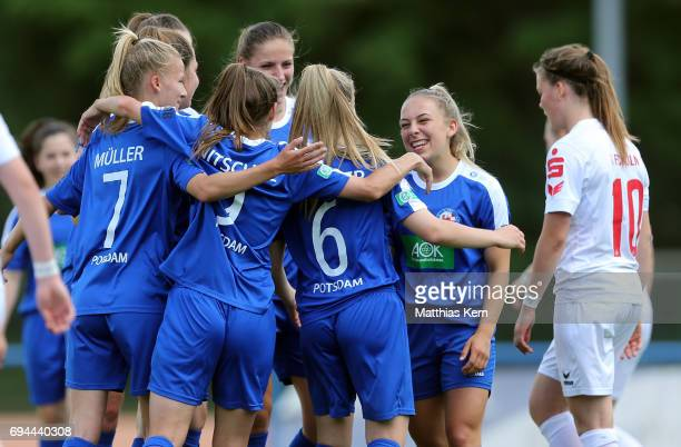 Marie Therese Hoebinger of Potsdam jubilates with team mates after scoring the fourth goal during the B Junior Girl's German Championship semi final...