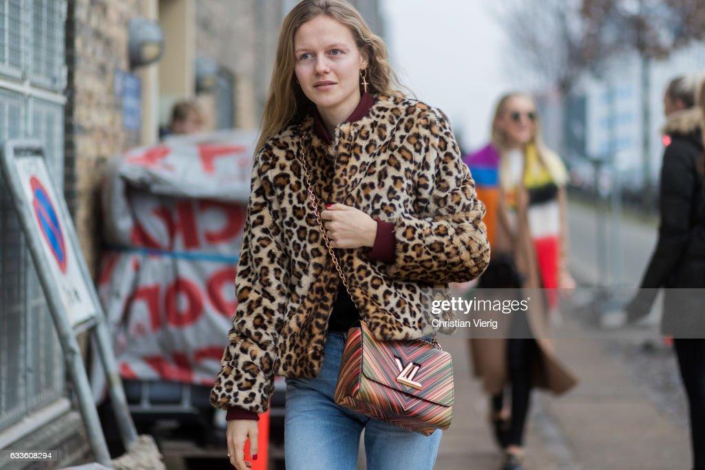 fb4ce18841 Marie von Behrens wearing a leoprint jacket, Louis Vuitton bag ...