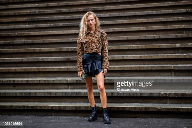 Marie von Behrens wearing jacket with leopard print is seen outside Proenza Schouler during New York Fashion Week Spring/Summer 2019 on September 10...