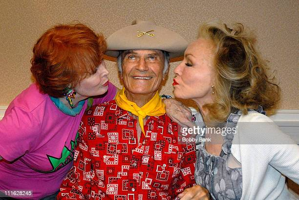 Marie Wallace Larry Storch and Julie Newmar attends the 10th annual Super Megashow and Comic Fest at the Crowne Plaza Hotel on July 12 2008 in...