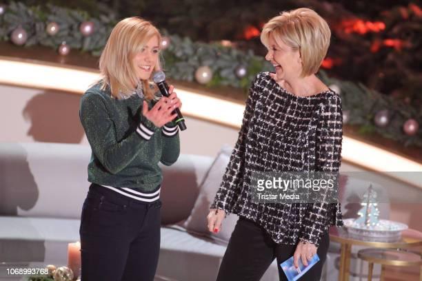 Marie Wegener and Carmen Nebel during the charity tv show 'Die schoensten WeihnachtsHits' in favor of MISEREOR and Brot fuer die Welt on December 5...