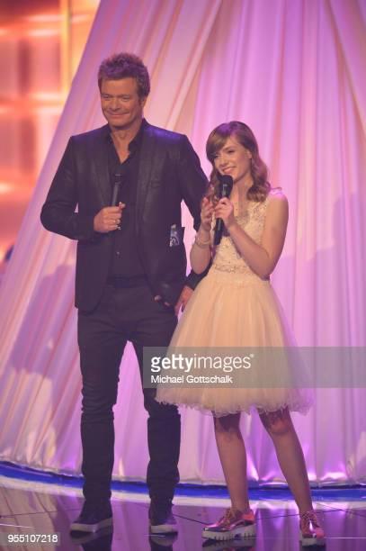Marie Wegener, winner of 'Deutschland sucht den Superstar', and Oliver Geissen during the finals of the tv competition 'Deutschland sucht den...