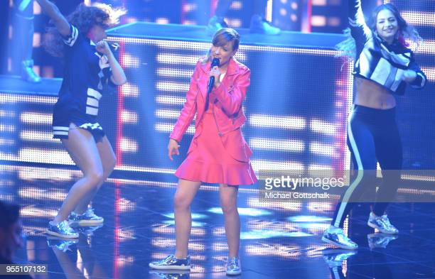 Marie Wegener, winner of 'Deutschland sucht den Superstar', during the finals of the tv competition 'Deutschland sucht den Superstar' at Coloneum on...