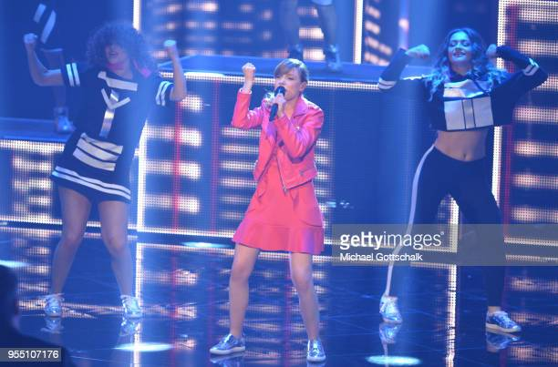 Marie Wegener, winner of Deutschland sucht den Superstar, during the finals of the tv competition 'Deutschland sucht den Superstar' at Coloneum on...