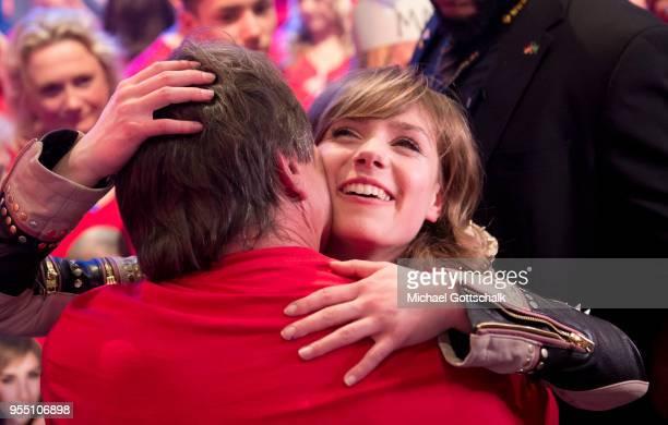 Marie Wegener winner of 'Deutschland sucht den Superstar' hugs her father during the finals of the tv competition 'Deutschland sucht den Superstar'...