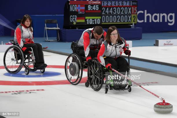 Marie Wright from Canada delivers a stone during the World Wheelchair Curling Championship 2017 test event for PyeongChang 2018 Winter Olympic Games...