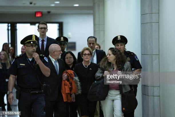 Marie Yovanovitch former US Ambassador to Ukraine center arrives at the US Capitol in Washington DC US on Friday Oct 11 2019 Yovanovitch arrived to...