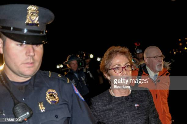 Marie Yovanovitch former US Ambassador to Ukraine leaves Capitol Hill after a closeddoor deposition before House committees in Washington DC US on...