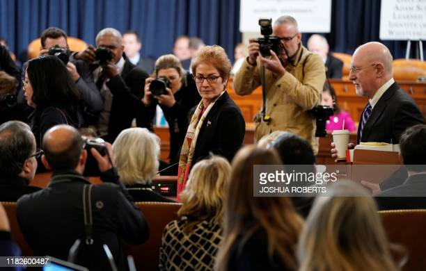 Marie Yovanovitch former US ambassador to Ukraine returns from a break in her testimony before a House Intelligence Committee hearing as part of the...