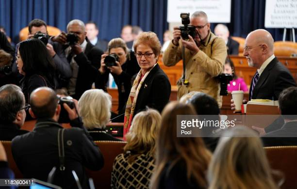 Marie Yovanovitch former US ambassador to Ukraine returns from a before the House Intelligence Committee in the Longworth House Office Building on...