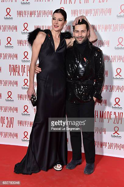 Marie-Agnes Gillot and Alexis Mabille attend the Sidaction Gala Dinner 2017 - Haute Couture Spring Summer 2017 show as part of Paris Fashion Week on...