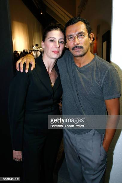 MarieAgnes Gillot and stylist Haider Ackermann pose Backstage after the Haider Ackermann show as part of the Paris Fashion Week Womenswear...