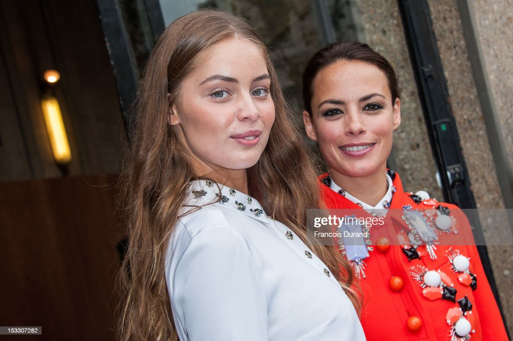 Marie-Ange Casta and Berenice Bejo arrive at the Miu Miu Spring/Summer 2013 show as part of Paris Fashion Week on October 3, 2012 in Paris, France.