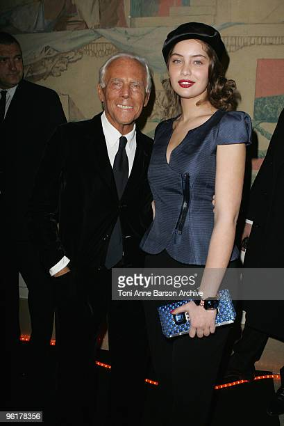 MarieAnge Casta and Giorgio Armani at the Giorgio Armani Prive HauteCouture show as part of the Paris Fashion Week Spring/Summer 2010 at Palais de...