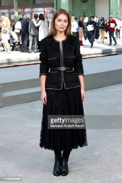 Marie-Ange Casta attends the Chanel Cruise Collection 2020 : Front Row at Le Grand Palais on May 03, 2019 in Paris, France.