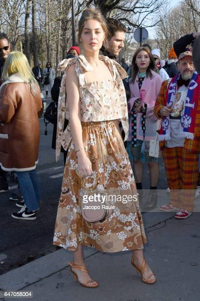 MarieAnge Casta is seen arriving at Chloe fashion show during the Paris Fashion Week Womenswear Fall/Winter 2017/2018 on March 2 2017 in Paris France