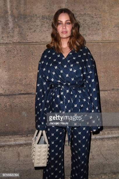 MarieAnge Casta is seen arriving at H M fashion show during Paris Fashion Week Womenswear Fall/Winter 2018/2019 on February 28 2018 in Paris France