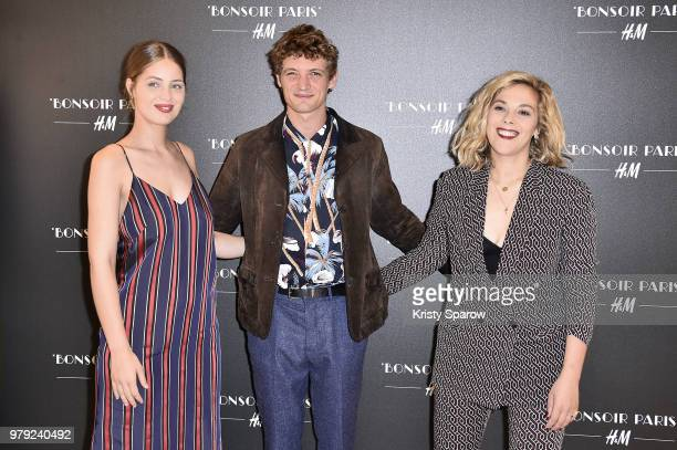 MarieAnge Casta Niels Schneider and Alysson Paradis attend the HM Flagship Opening Party as part of Paris Fashion Week on June 19 2018 in Paris France