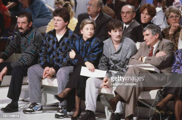 MarieAnge Laroche and her brothersinlaw appear on the French talkshow Show 'Face a France' Paris 21st February 1988 Laroche is the widow of Bernard...