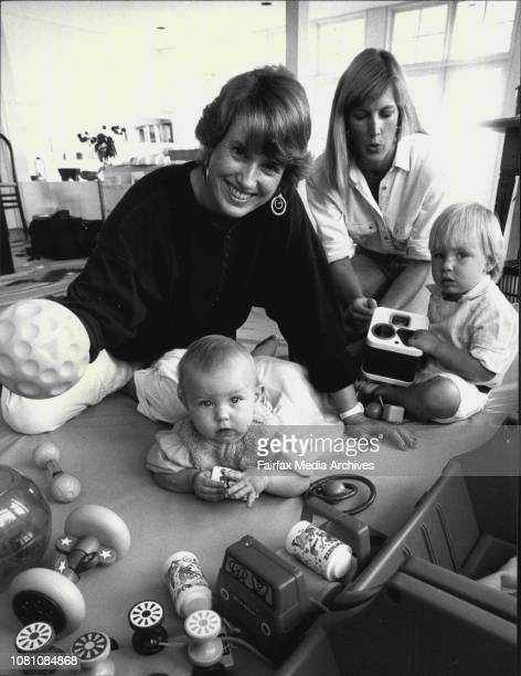 MarieAnn Waugh and Amber Maiden with child care kids Charlotte and Nicholas April 28 1987