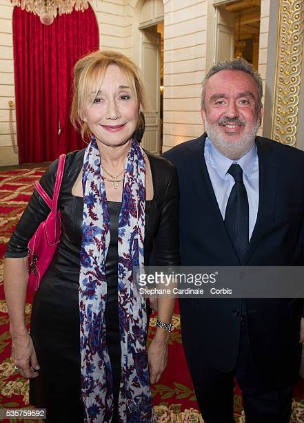MarieAnne Chazel and Dominique Farrugia attend the Ceremony at Elysee Palace in Paris
