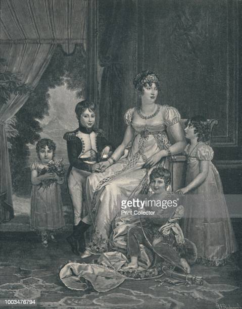 MarieAnnunciadeCaroline Bonaparte wife of Joachim Murat Queen of Naples Countess Lipona and her children Achille Laetitia Lucien and Louise' circa...
