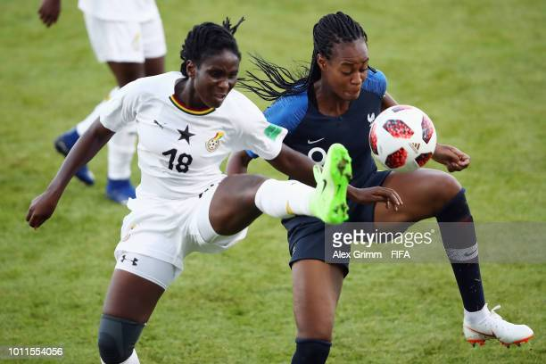 MarieAntoinette Katoto of France is challenged by Blessing Agbomadzi of Ghana during the FIFA U20 Women's World Cup France 2018 group A match between...