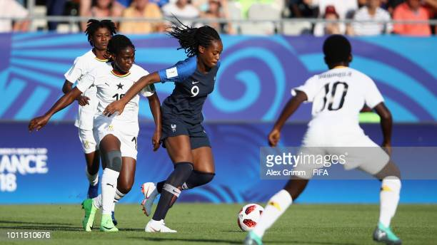 MarieAntoinette Katoto of France is challenged by Ernestina Abambila of Ghana during the FIFA U20 Women's World Cup France 2018 group A match between...