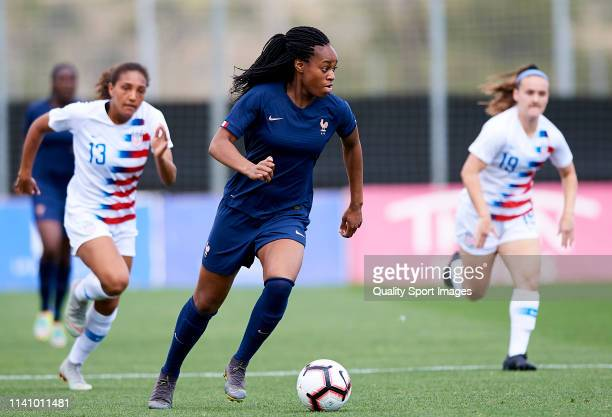 Marie-Antoinette Katoto of France runs with the ball during the U-23 Women's International friendly match between the United States and France at La...
