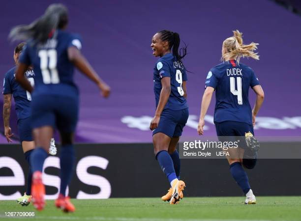 Marie-Antoinette Katoto of Paris Saint-Germain celebrates after scoring her team's first goal during the UEFA Women's Champions League Quarter Final...