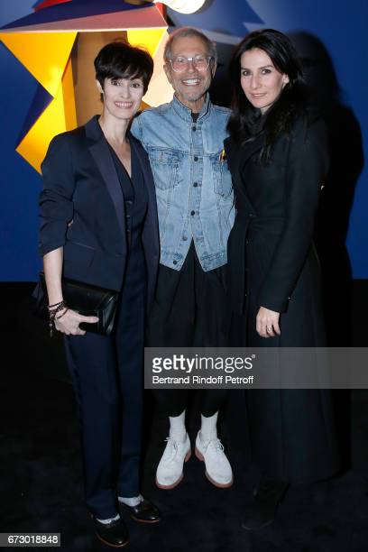 MarieClaude Pietragalla JeanPaul Goude and Marie Drucker pose in front the works of JeanPaul Goude during the 'Societe des Amis du Musee d'Art...
