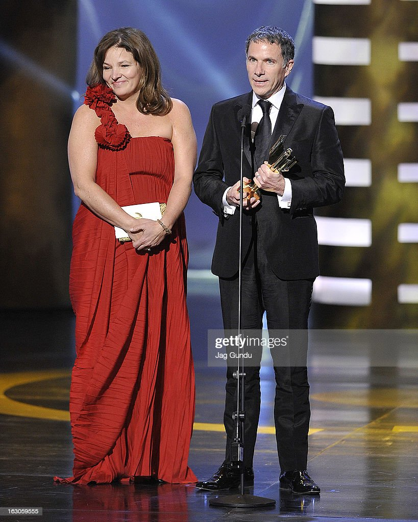 Marie-Claude Poulin and Pierre Even, winners of the Best Motion Picture, speak onstage at the 2013 Canadian Screen Awards at Sony Centre for the Performing Arts on March 3, 2013 in Toronto, Canada.