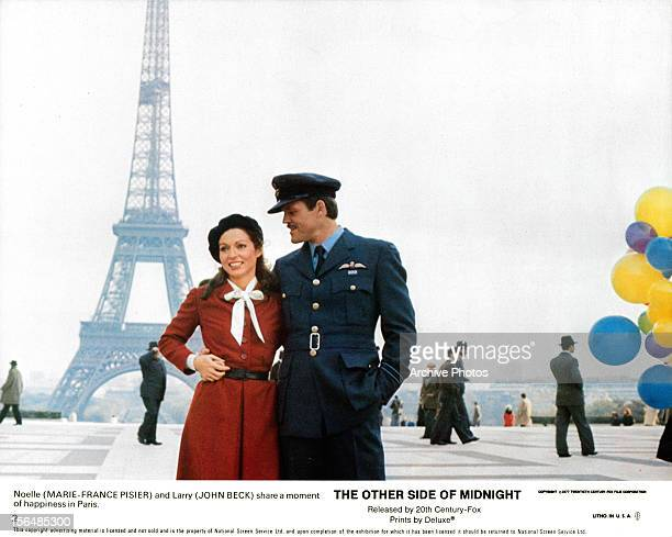 MarieFrance Pisier and John Beck sharing a happy moment together in Paris in a scene from the film 'The Other Side Of Midnight' 1977