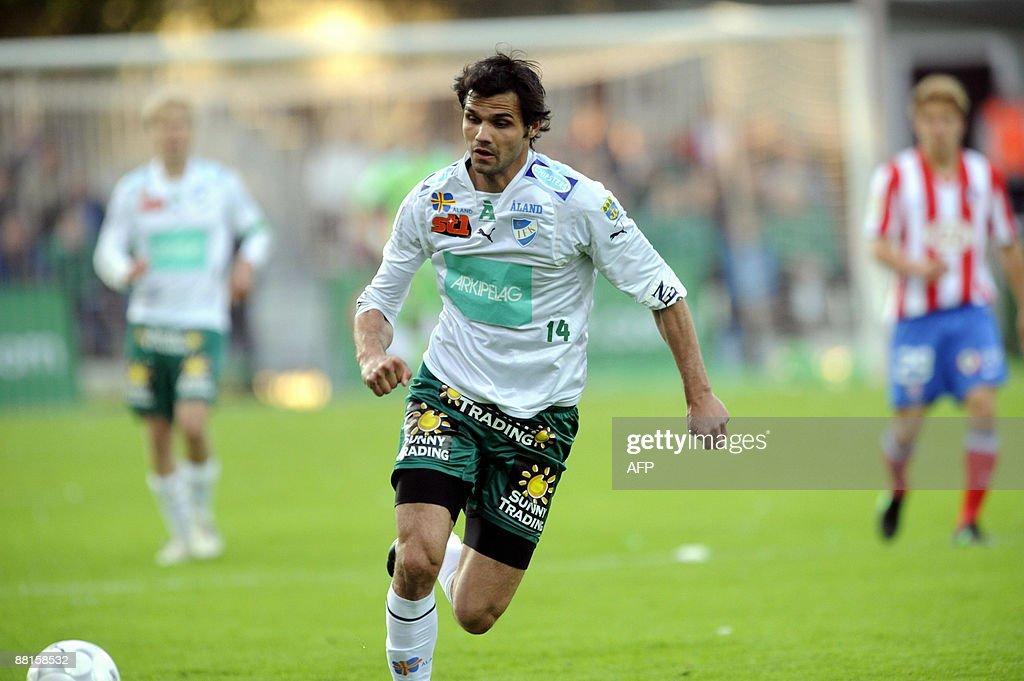 IFK Mariehamn's Arsim Gashi runs for the : News Photo