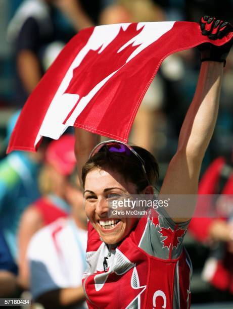 MarieHelene Premont of Canada celebrates victory after the Women's Individual Cross Country Mountain Biking Event at the State Mountain Bike Course...