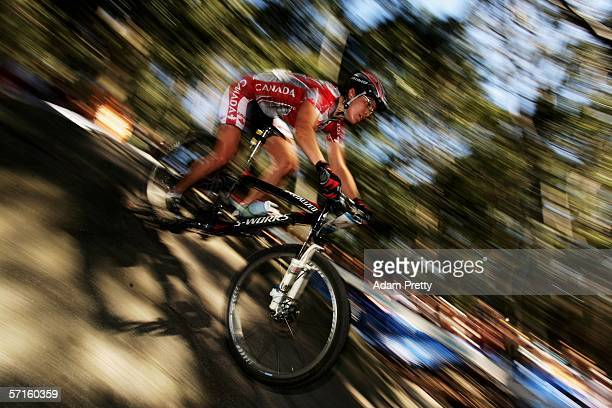 MarieHelene Premont of Canada competes in the Women's Individual Cross Country Mountain Biking Event at the State Mountain Bike Course in Lysterfield...
