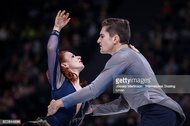 MarieJade Lauriault and Romain Le Gac of France compete during Ice Dance Free Dance on day two of the Trophee de France ISU Grand Prix of Figure...