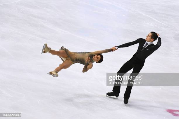Marie-Jade Lauriault and Romain Le Gac of France compete in the Ice Dance Rhythm Dance programme during the Internationaux de France ISU Grand Prix...