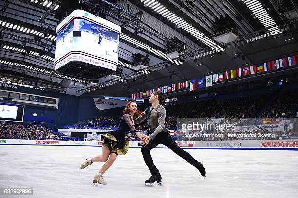 MarieJade Lauriault and Romain Le Gac of France compete in the Ice Dance Free Dance during day 4 of the European Figure Skating Championships at...