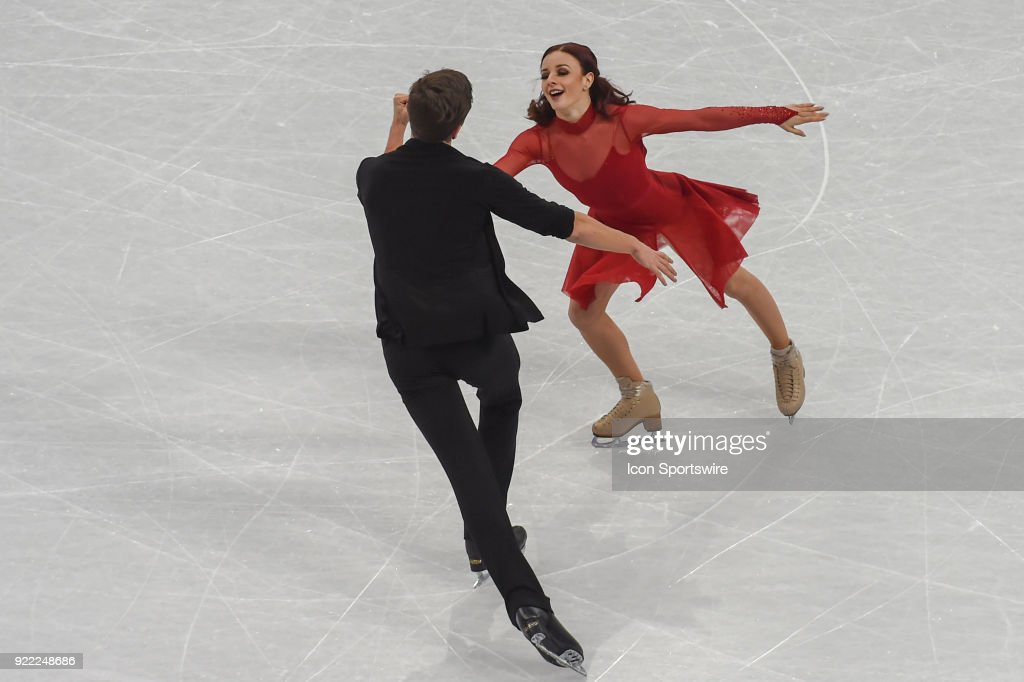 Marie-Jade Lauriault and Romain Le Gac (FRA) skate in the free dance of the Ice Dancing competition during the 2018 Winter Olympic Games at the Gangneung Ice Arena on February 20, 2018 in PyeongChang, South Korea.