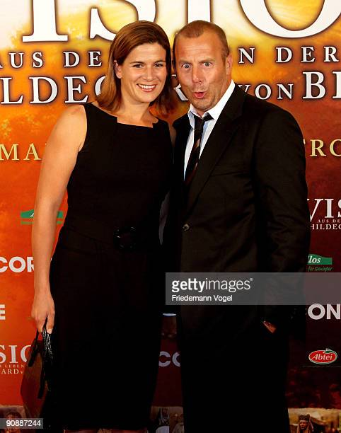 MarieJeanette Ferch and Heino Ferch pose on the red carpet before the premiere of the film 'Vision From The Life Of Hildegard Von Bingen' by director...