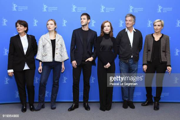MarieJeanne Pascal Julia Roy Gaspard Ulliel Isabelle Huppert Benoit Jacquot and Melita Toscan du Plantier pose at the 'Eva' photo call during the...