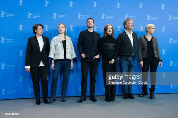 Marie-Jeanne Pascal, Julia Roy, Gaspard Ulliel, Isabelle Huppert, Benoit Jacquot and Melita Toscan du Plantier pose at the 'Eva' photo call during...