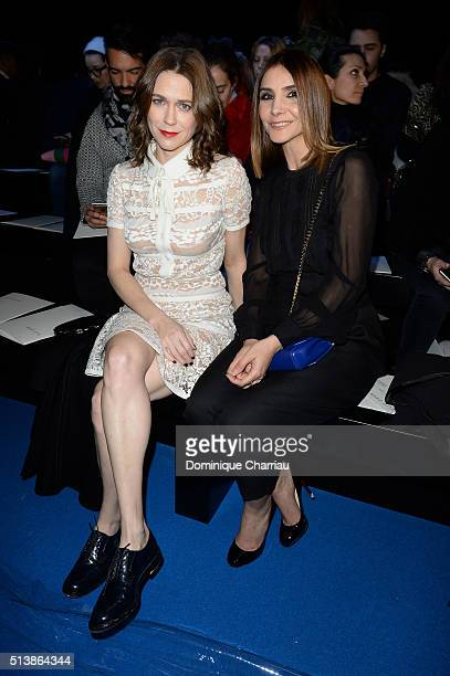 MarieJosee Croze and Clotilde Courau attend the Elie Saab show as part of the Paris Fashion Week Womenswear Fall/Winter 2016/2017 on March 5 2016 in...